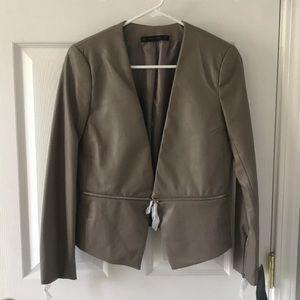 Faux leather Zara cropped blazer